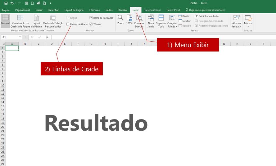 apagar todas as bordas e linhas da sua planilha no Excel