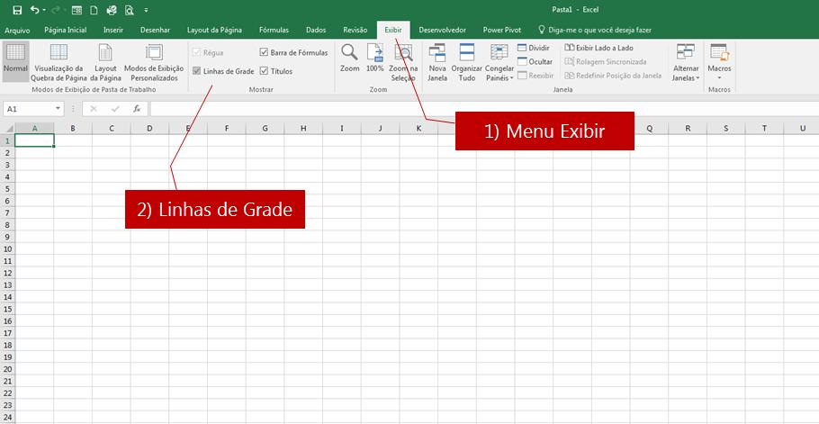 como apagar as bordas e linhas planilha Excel