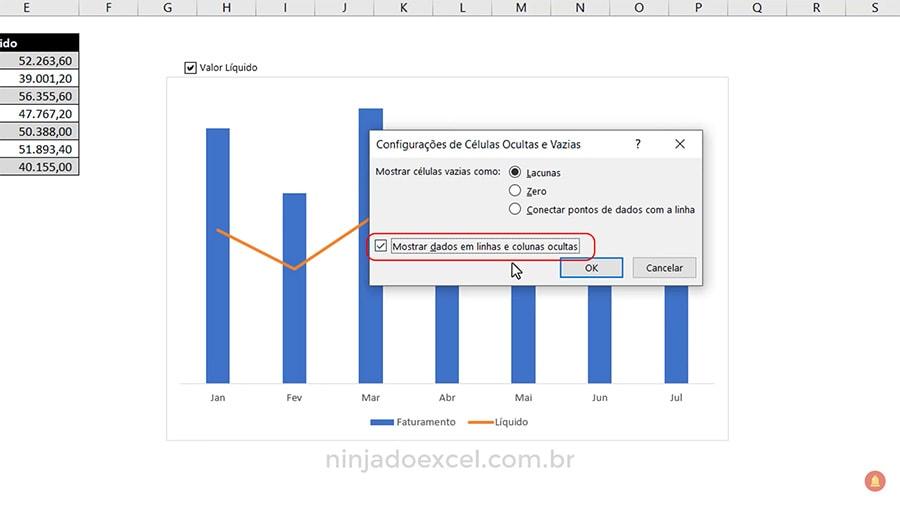 Caixa de Seleção no Excel com vínculo ao gráfico Ninja do Excel