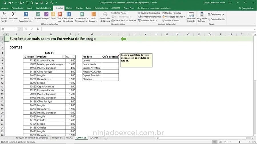 Funções de Excel para Entrevista de Emprego CONTSE