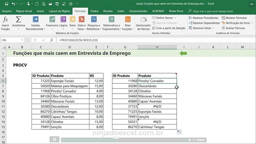 Funções de Excel para Entrevista de Emprego PROCV