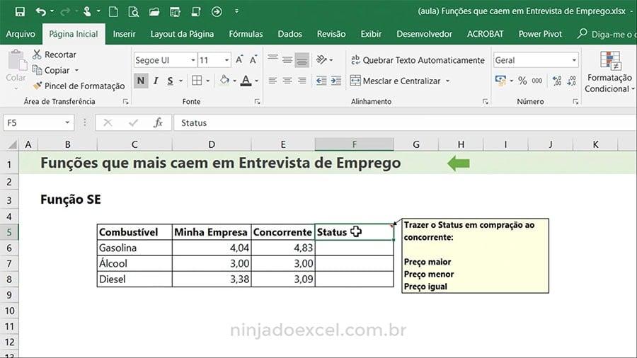 Funções de Excel para Entrevista de Emprego SE
