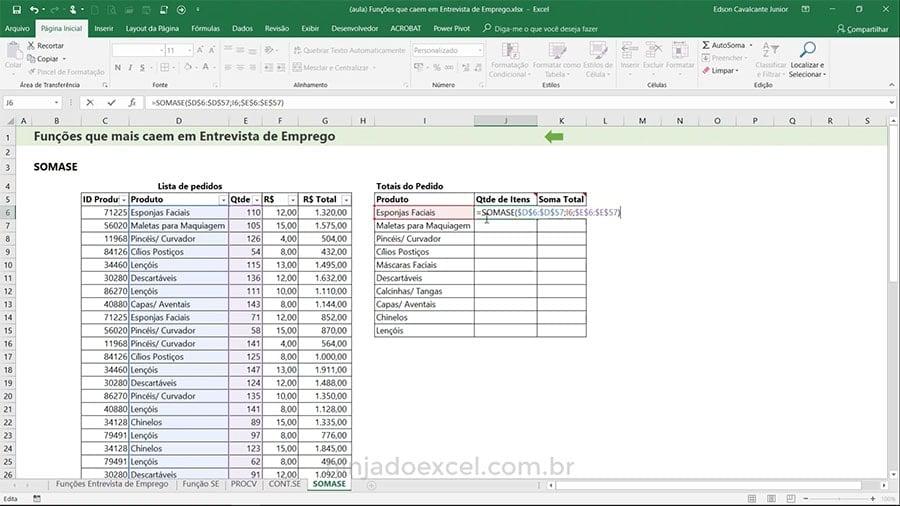 Funções de Excel para Entrevista de Emprego SOMASE