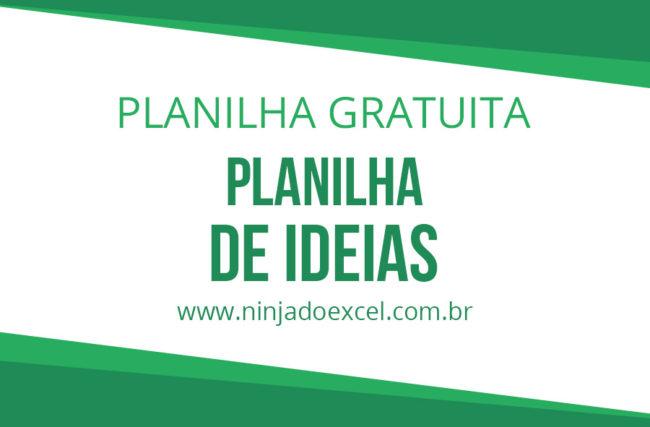 Modelo de Planilha de Ideias para Brainstorming