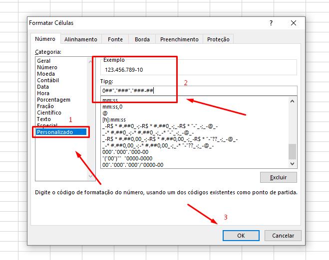 Inserindo CPF no Excel
