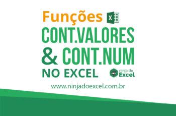 Funções CONT.VALORES e CONT.NÚM no Excel