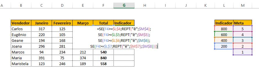 indicador com estrelas no Excel