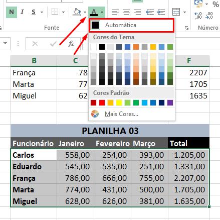 Cor da letra para limpar formatação no Excel