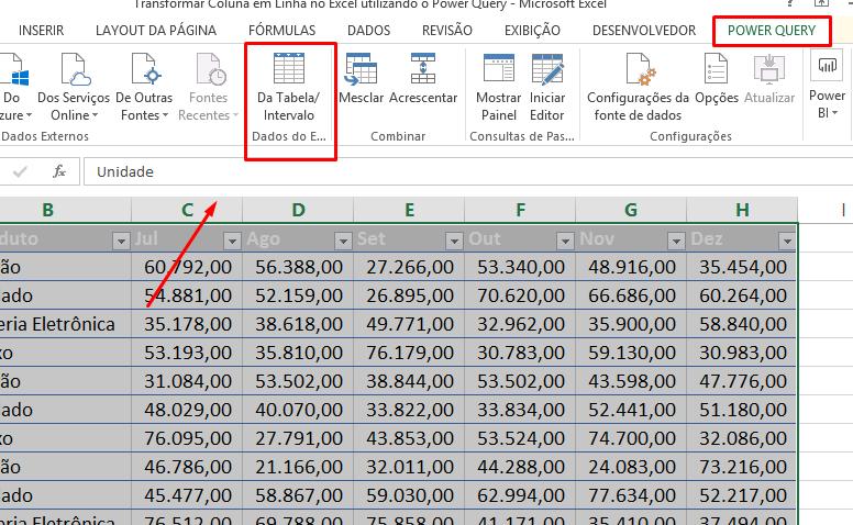 Do intervalo para Transformar Coluna em Linha no Excel