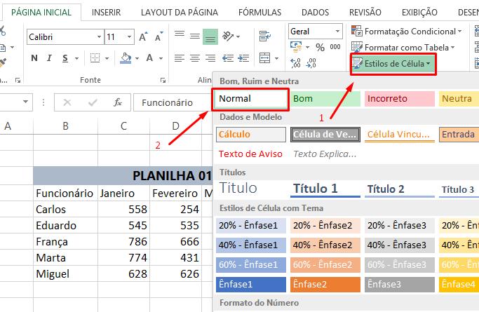 Estilos de célula para limpar formatação no Excel