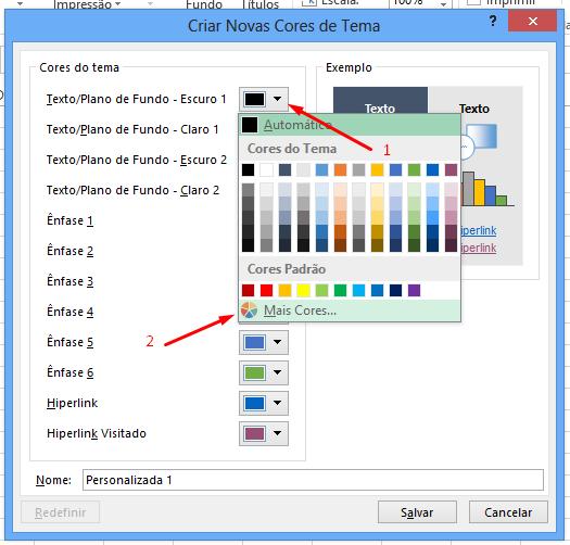 Mais cores em Paleta de cores no Excel 2