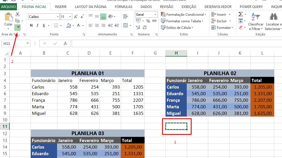 Pincel de formatação para limpar formatação no Excel