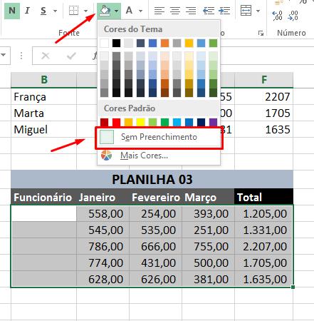 Sem preenchimento para limpar formatação no Excel