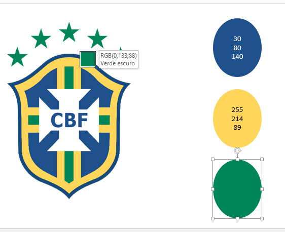 Verde do escudo para Paleta de cores no Excel