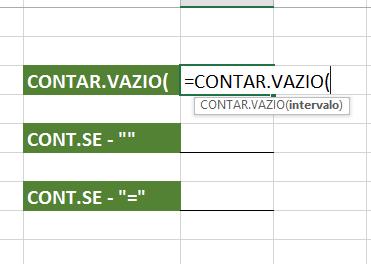 Abrindo CONT.VAZIO para contar células vazias no Excel