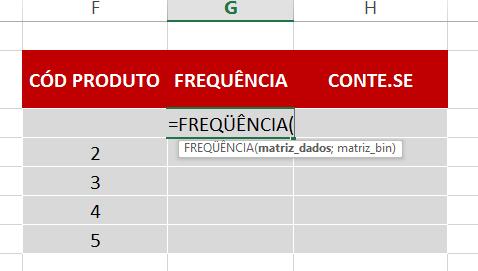 Abrindo a Função FREQUÊNCIA no Excel
