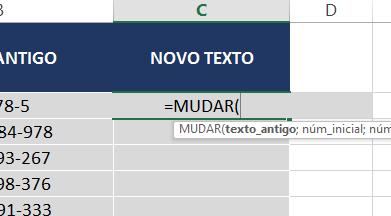 Abrindo a função MUDAR no Excel