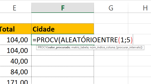 Abrindo função ALEATÓRIOENTRE em textos aleatórios no Excel