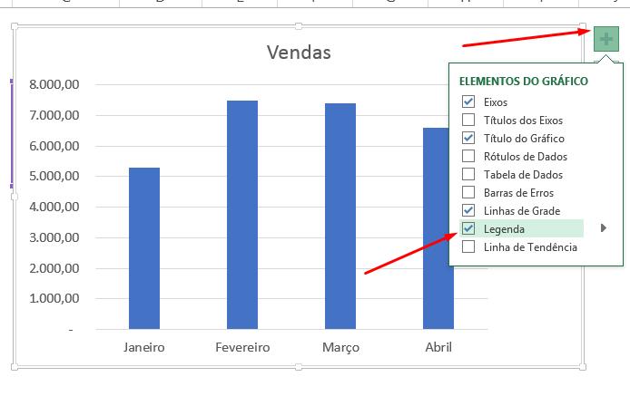 Adicionando legenda para Alterar cor de colunas do gráfico no Excel