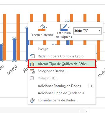 Alterar tipo de gráfico em Gráfico de Coluna com Destaques