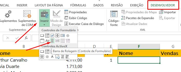 Criando Barra de Rolagem no Excel