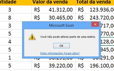 Erro ao apagar Função matricial no Excel