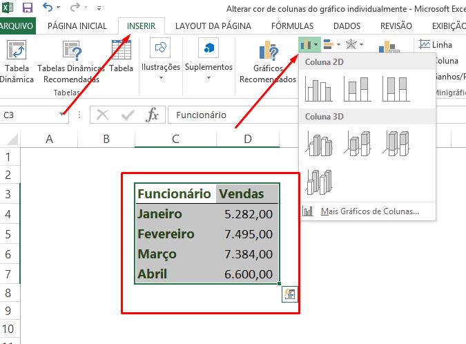 Escolhendo o gráfico para Alterar cor de colunas do gráfico no Excel