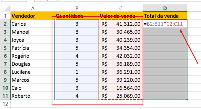 Fazendo multiplicação na Função matricial no Excel