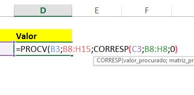 Fechando parêntese em PROCV com CORRESP no Excel