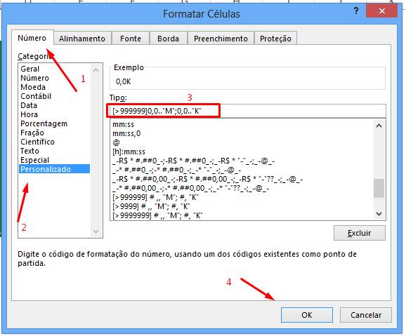Formatando Formatar Células para abreviar números no Excel