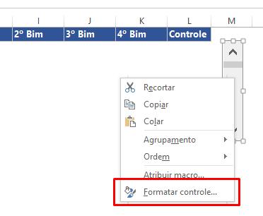 Formatar Controle para Gráfico com Barra de Rolagem no Excel