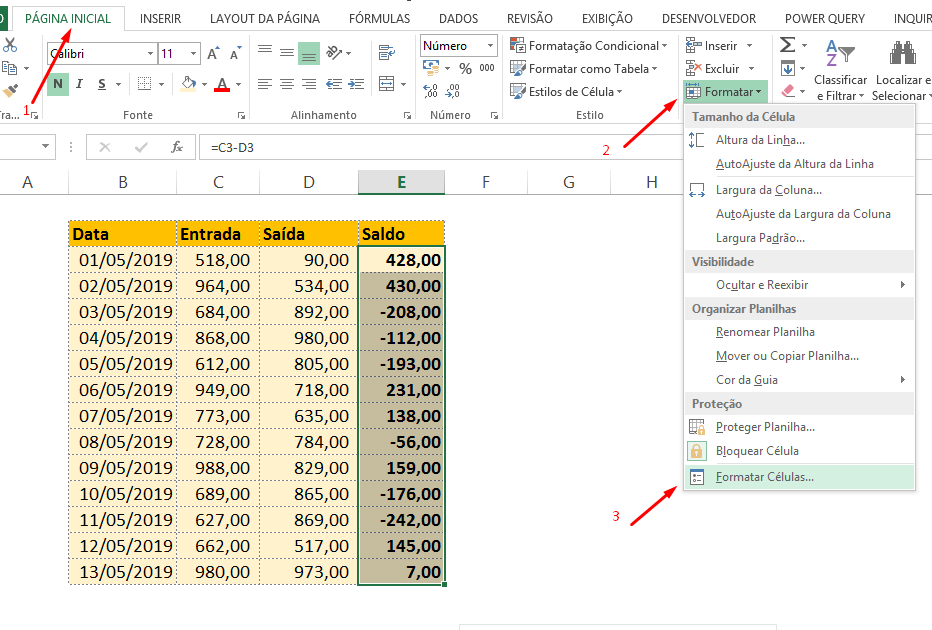 Formatar células para números negativos em vermelho no EXCEL