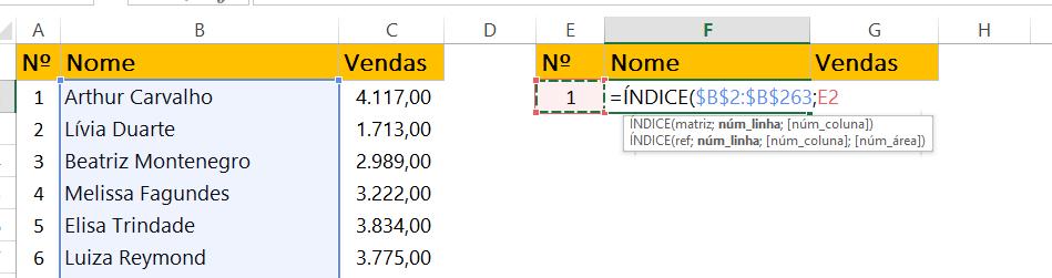 Função ÍNDICE para nomes em Barra de Rolagem no Excel