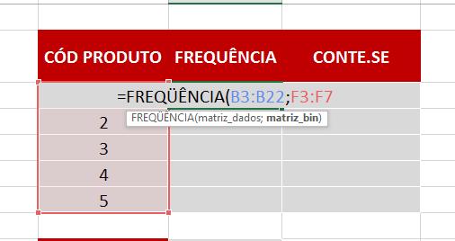 Matriz_bin da Função FREQUÊNCIA no Excel