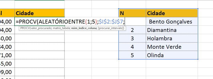 Matriz_tabela em textos aleatórios no Excel
