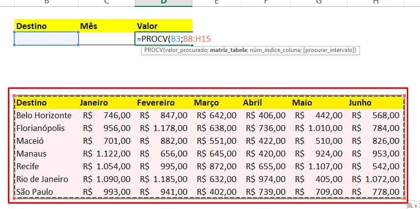 Matriz_tabela para PROCV com CORRESP no Excel