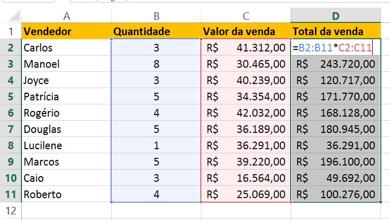 Modificando Função matricial no Excel