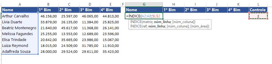 Primeira função ÍNDICE do Gráfico com Barra de Rolagem no Excel