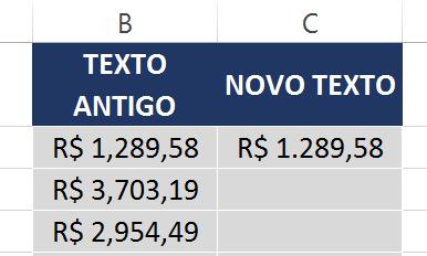 Primeiro resultado da Função SUBSTITUIR no Excel