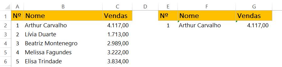 Primeiro resultado de Barra de Rolagem no Excel