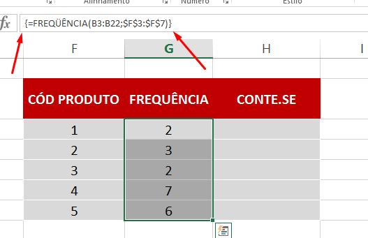 Resultado correto da Função FREQUÊNCIA no Excel