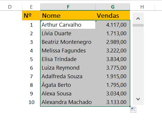 Resultado de Barra de Rolagem no Excel