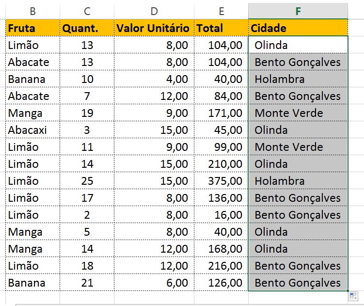 Resultado final da textos aleatórios no Excel