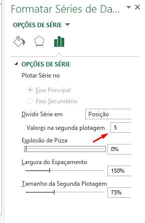 Segundo plotagem em Gráfico Pizza de Pizza no Excel