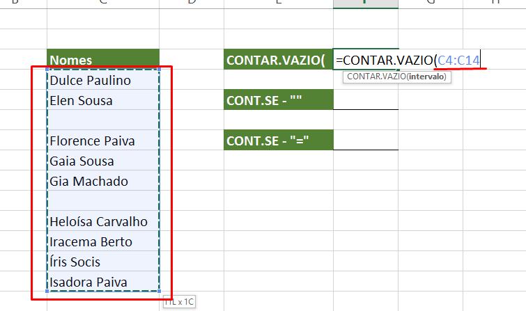 Selecionando intervalo para contar células vazias no Excel