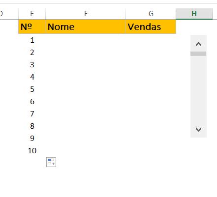 Sequencia de numeros 10 em Barra de Rolagem no Excel