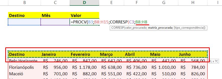 matriz_procurada PROCV com CORRESP no Excel