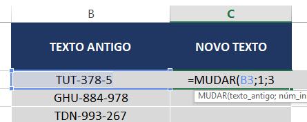 num_caractere da função MUDAR no Excel