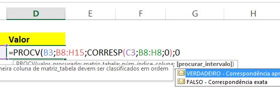 procurar_intervalo em PROCV com CORRESP no Excel