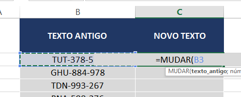 texto_antigo da função MUDAR no Excel